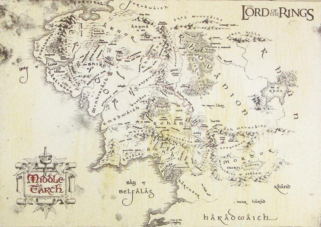 señor de los anillos mapa tierra media