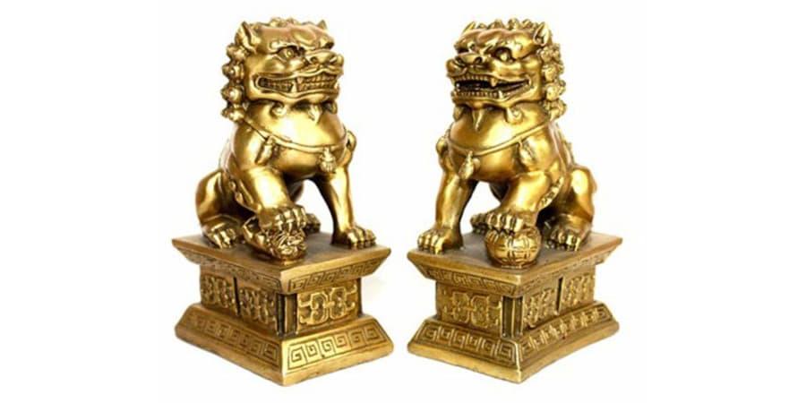 leones de fu perros foo oro